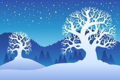 Twee de winterbomen met sneeuw 2 Stock Afbeelding