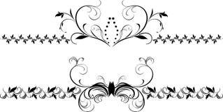 Twee decoratieve bloemengrenzen voor ontwerp Stock Fotografie
