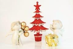 Twee decoratieve engelen Stock Foto's