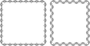 Twee decoratieve frames. Zwarte die op het wit wordt geïsoleerde Royalty-vrije Stock Afbeeldingen