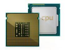 Twee die Cpu op witte achtergrond wordt geïsoleerd 3D Illustratie Royalty-vrije Stock Afbeelding