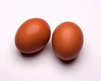 Twee die eieren op witte achtergrond worden geïsoleerd Stock Afbeelding