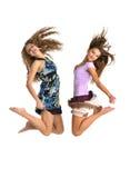 Twee die gilrs springen Stock Foto