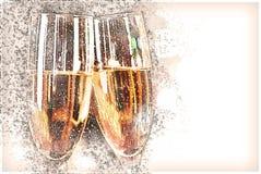 Twee die glazen met wijn worden gevuld Stock Foto