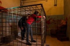 Twee die Halloween-slachtoffers in een metaalkooi worden gevangengenomen die proberen te krijgen stock fotografie