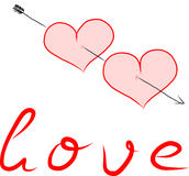 Twee die harten door een pijl worden doordrongen Royalty-vrije Stock Afbeelding