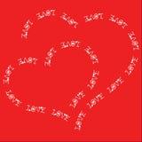 Twee die harten uit tekst worden samengesteld Stock Afbeelding