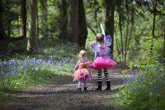 Twee die kinderen in een hout met de lenteklokjes wordt gevuld Royalty-vrije Stock Foto's