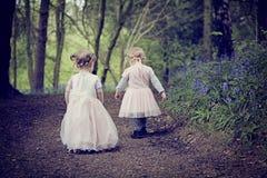 Twee die kinderen in een hout met de lenteklokjes wordt gevuld Royalty-vrije Stock Fotografie