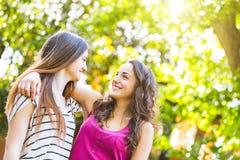 Twee die meisjes samen bij park worden omhelst Stock Foto's
