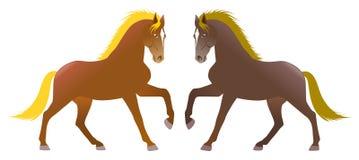 Twee die paarden in symmetrie, met achtergrond wordt geïsoleerd royalty-vrije illustratie