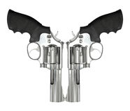 Twee die revolvers op witte achtergrond worden geïsoleerd Royalty-vrije Stock Foto's