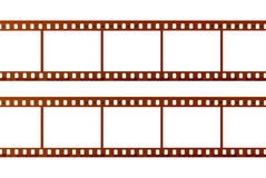 Twee die stroken van 35mm film op witte achtergrond, dichte omhooggaand worden geïsoleerd Stock Fotografie