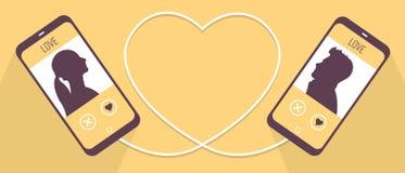 Twee die telefoons symbolically aan een kabel in de hartvorm, mens en vrouw worden aangesloten krijgen om elkaar te kennen in het Stock Fotografie