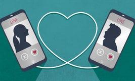 Twee die telefoons symbolically aan een kabel in de hartvorm, mens en vrouw worden aangesloten krijgen om elkaar te kennen in het Stock Afbeeldingen