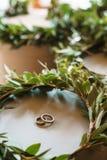 Twee die trouwringen binnen een kroon van natuurlijke eucalyptus wordt gemaakt Het concept een huwelijksdag royalty-vrije stock afbeelding