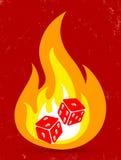 Twee dobbelen met in brand Stock Afbeelding