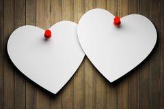 Twee document harten stock afbeelding