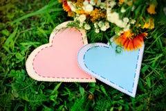 Twee document harten op het gras Stock Afbeelding