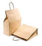 Twee document het winkelen zak op wit Stock Foto