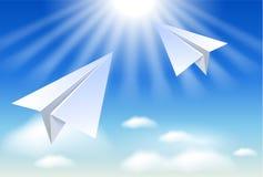 Twee document vliegtuig Stock Fotografie