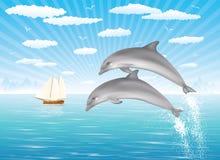 Twee dolfijnen. stock illustratie