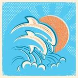 Twee dolfijnen en zon Vector retro illustratie van ouder en bab royalty-vrije illustratie