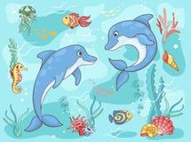 Twee dolfijnen in het overzees Royalty-vrije Stock Foto's