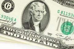 Twee dollarrekening Stock Afbeeldingen