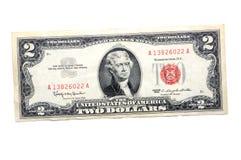 Twee dollarrekening Royalty-vrije Stock Foto's