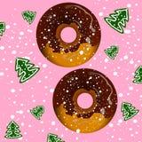 Twee donuts met chocolade Royalty-vrije Stock Foto