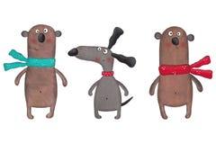 Twee draagt en één hond Stock Afbeelding