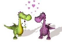 Twee draken in liefde Stock Foto