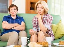 Twee droevige oude vrouwen die problemen bespreken stock afbeelding