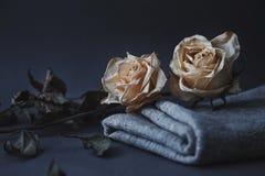 Twee droge witte rozen op grijze achtergrond met natuurlijk linnen drap stock afbeelding