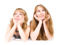 Twee dromende vrouwen royalty-vrije stock foto's