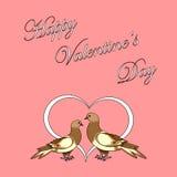 Twee duiven met een hart. De dagrug van ontwerpvalentijnskaarten Stock Fotografie