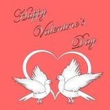 Twee duiven met een hart. De dagrug van ontwerpvalentijnskaarten Stock Afbeeldingen