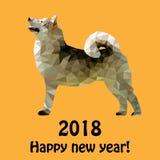 Twee duizend en achttiende jaar van de gele hond stock illustratie