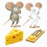 Twee dwaas muizen en stuk van kaas in muizeval vector illustratie