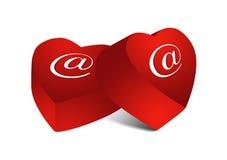 Twee e-mailchocoladeharten Stock Foto's
