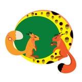 Twee eekhoorns op de maan. Stock Afbeelding