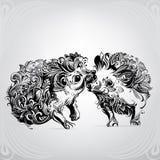 Twee egels in ornament Royalty-vrije Stock Afbeeldingen