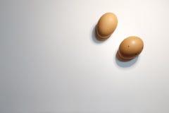 Twee eieren op witte achtergrond Stock Afbeelding