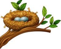 Twee eieren in vogelnest vector illustratie