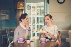 Twee elegante jonge dames in een koffie stock afbeelding