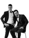 Twee elegante mensen in kostuum en bowtie Royalty-vrije Stock Foto's