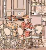 Twee elegante Parijse vrouwen Stock Afbeelding