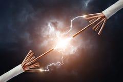 Twee elektrische kabels royalty-vrije stock afbeelding