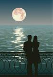 Twee enamoured bewonderen moonrise Stock Afbeeldingen